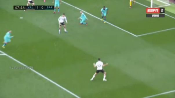 Así fue la primera anotación de Valencia contra el Barcelona.