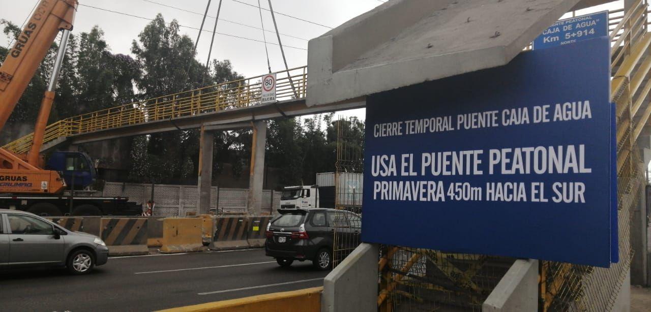 El puente peatonal Caja de Agua, en El Agustino, está a punto de colapsar luego de que una de sus columnas fuera impactada por un camión de carga pesada.