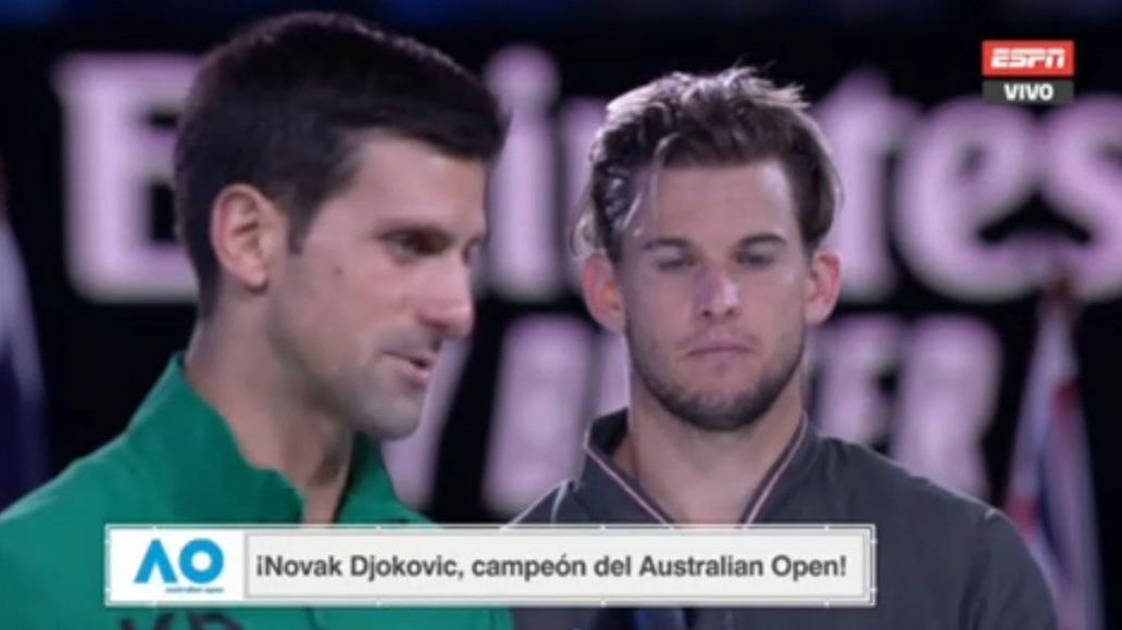 Novak Djokovic venció por 3-2 a Thiem.