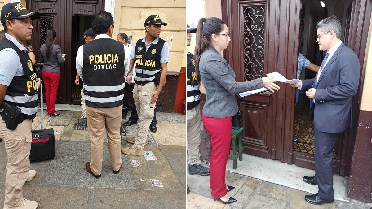 El fiscal José Domingo Pérez allanó esta mañana el local de Fuerza Popular.