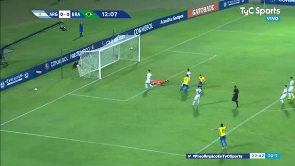Así fue la anotación de Paulinho frente a Argentina.