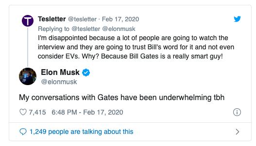 Bill Gates no se mostró fan de Tesla y a Elon Musk no le gustó.