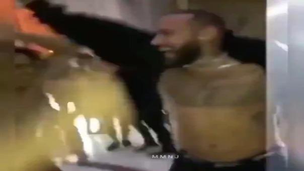 Festejos del plantel del PSG en la fiesta de Cavani, Icardi y Di María