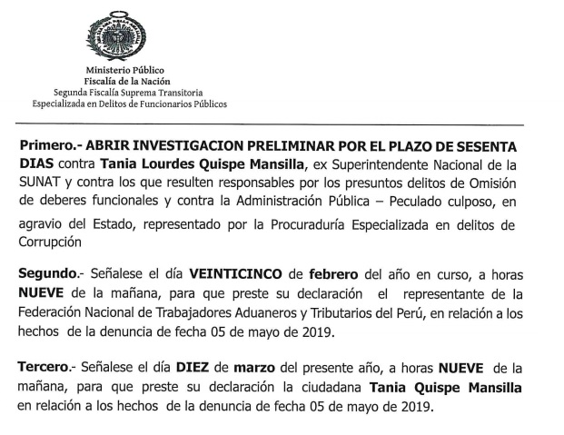Parte de la resolución fiscal que dispone el inicio de la investigación contra Tania Quispe.