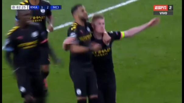 Kevin De Bruyne anotó de penal en el Manchester City 2-1 Real Madrid