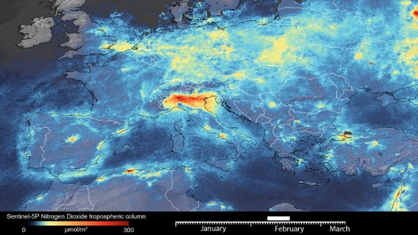 Imágenes captadas por un satélite de la Agencia Espacial Europea.