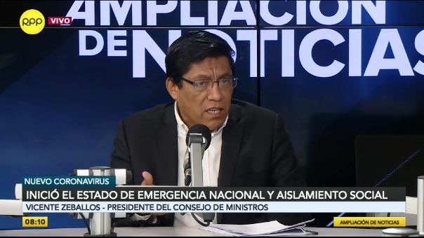 Vicente Zeballos, presidente del Consejo de Ministros, precisó las medidas dictadas por el Gobierno.