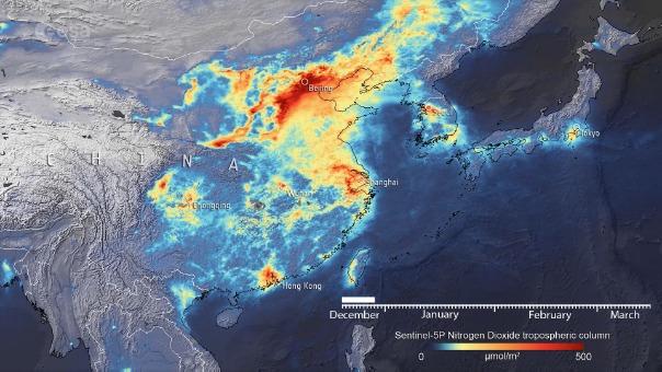 Los efectos de la cuarentena en la contaminación son visibles desde el espacio.