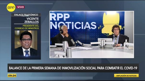 Vicente Zeballos, presidente del Consejo de Ministros, explica las medidas frente al coronavirus.