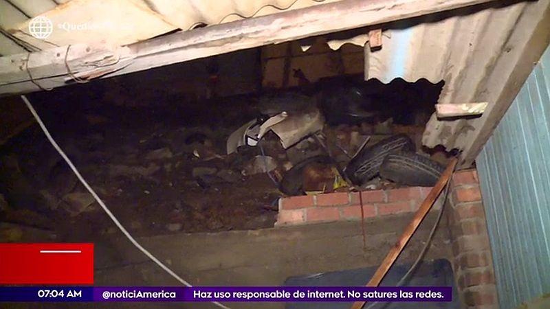 Una pirca construida artesanalmente colapsó debido a la fuerte lluvia que cayó anoche en la capital.