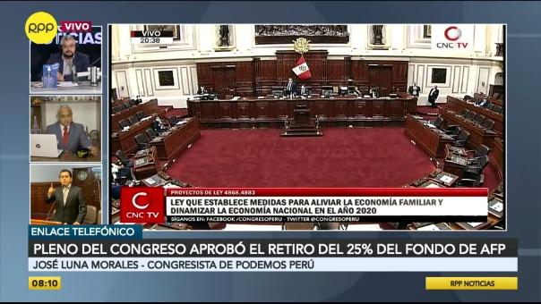 Pleno del Congreso aprobó el retiro del 25% del fondo de AFP.