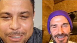 Ronaldo y Beckham hablando de sus hijos