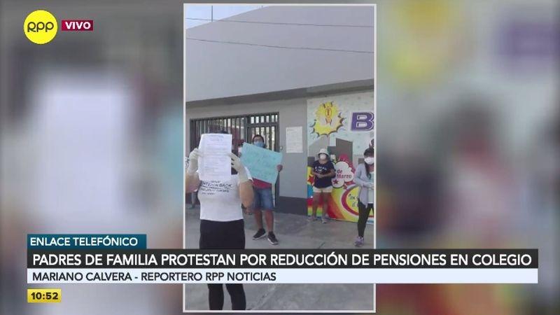 La manifestación se realizó afuera del colegio Los Ingenieros, en Villa María del Triunfo.