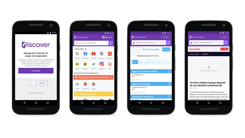 La interfaz de Discover es simple y permite el acceso a medios de comunicación y redes sociales bajo la modalidad