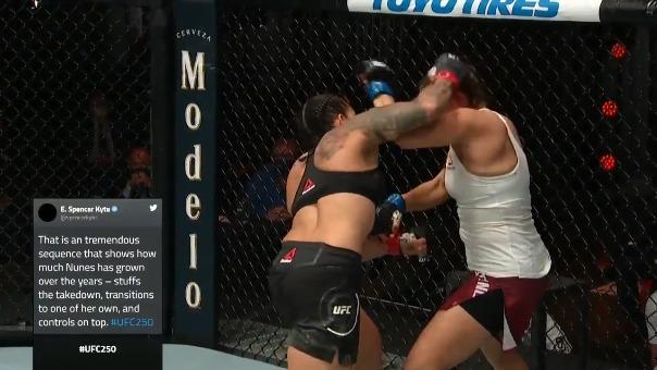 Amanda Nunes dominó en los cinco asaltos de la pelea estelar de UFC 250