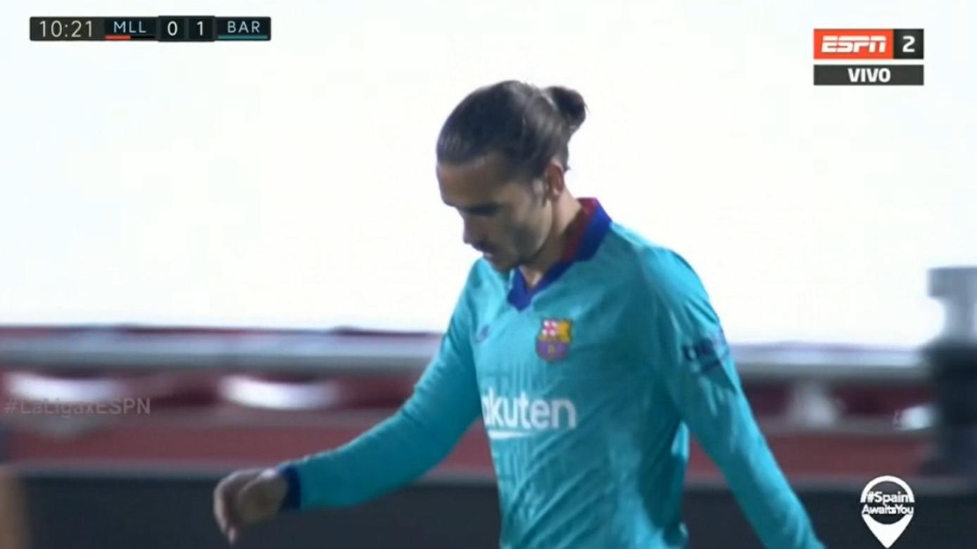 Antoine Griezmann falló clara ocasión de gol en el Mallorca vs. FC Barcelona