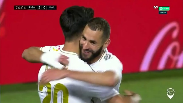 Marco Asensio marcó el segundo gol del Real Madrid ante Valencia