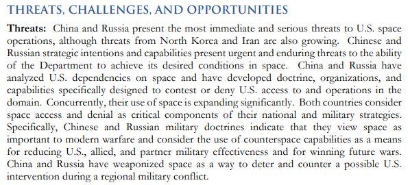 Si bien China y Rusia son consideradas las mayores amenazas, también hay preocupación por Corea del Norte e Irán.