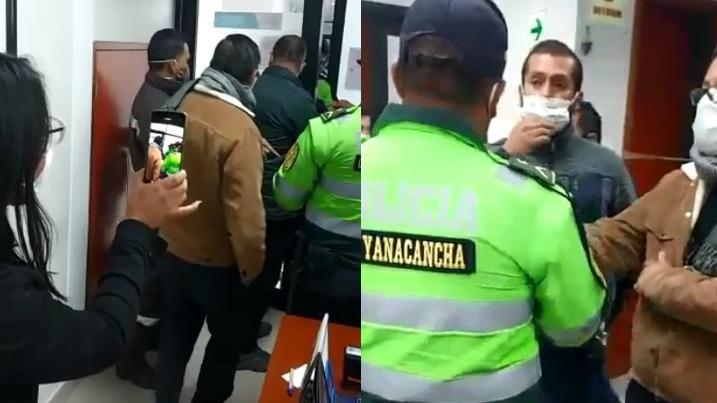 El enfrentamiento se produjo en la puerta de ingreso del Gobierno Regional de Pasco.