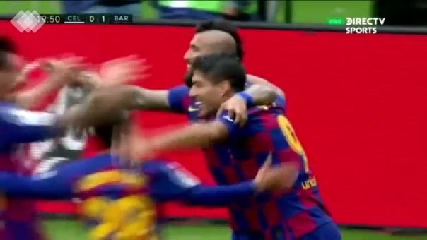 Pase de Messi y gol de Luis Suárez