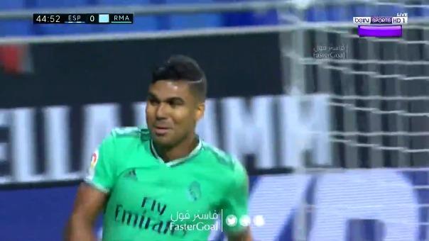 Gol de Casemiro para el Real Madrid 1-0 Espanyol
