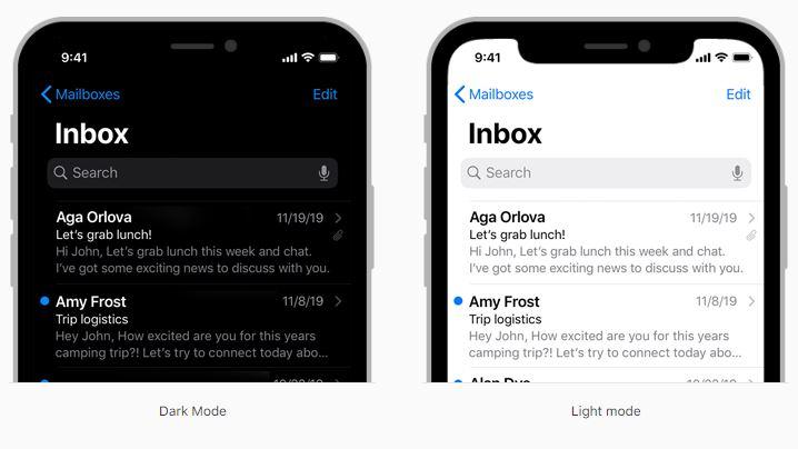 El Modo Oscuro en la app Mail de iOS.