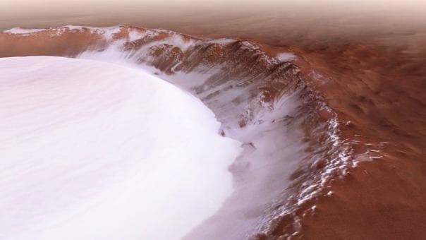 Mars Express nos regala espectaculares imágenes en 3D del cráter Korolev