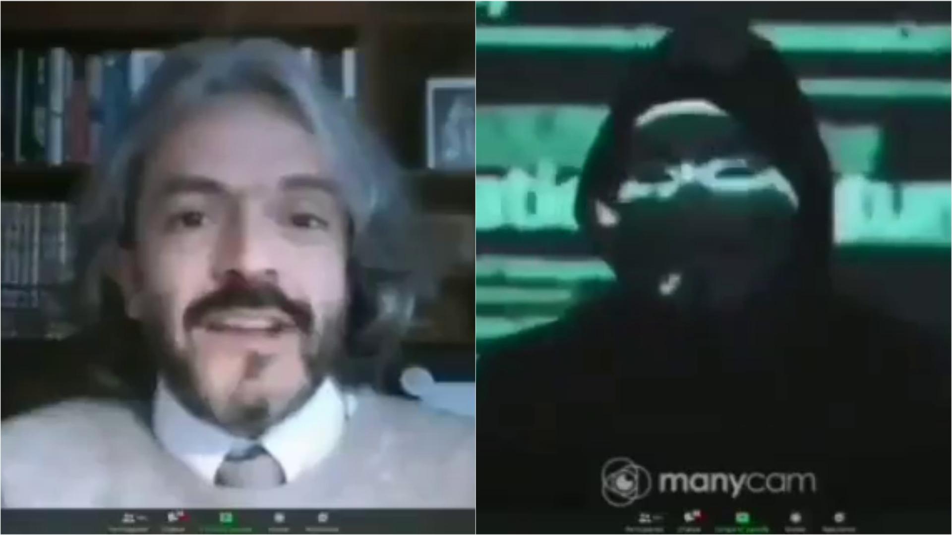 Increíble interrupción de Anonymous en Zoom de conversatorio.