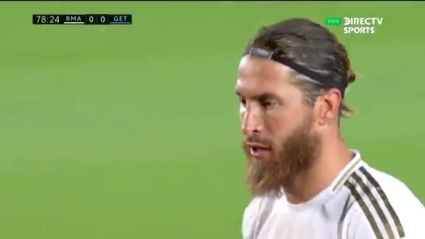 Sergio Ramos anotó de penal el gol de la victoria del Real Madrid ante Getafe