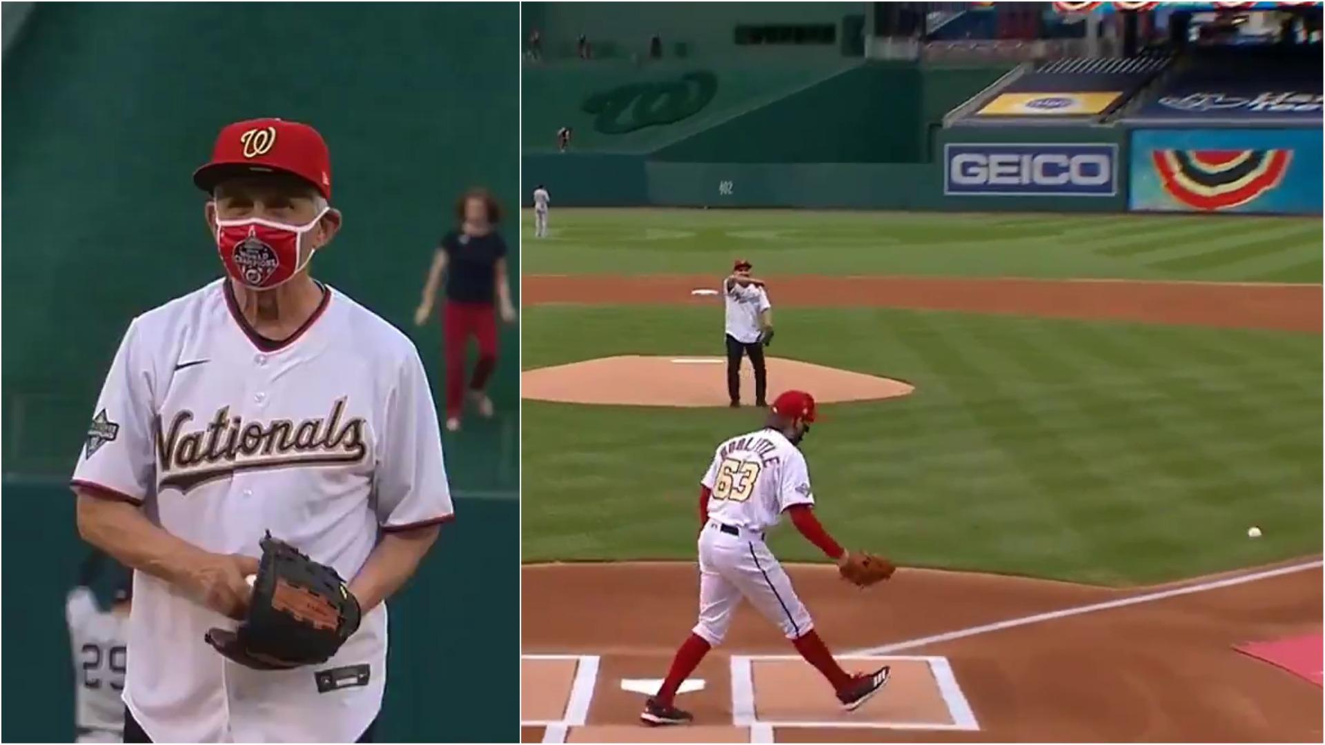 El doctor Fauci demostró que el baseball no es su fuerte.