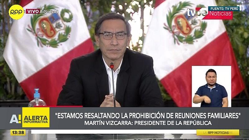 Martín Vizcarra advirtió que las reuniones familiares y sociales son los nuevos focos de contagio.