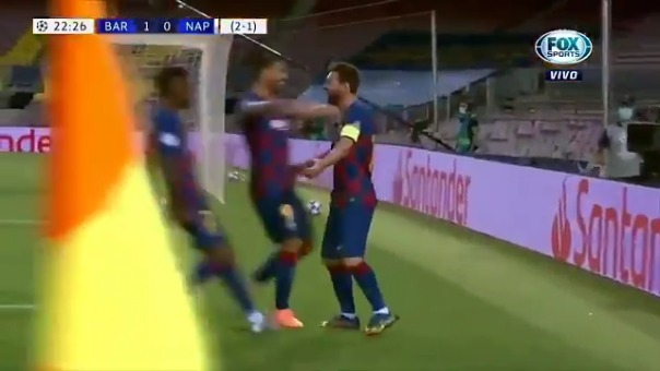 Gol de Messi que sirvió para la clasificación del Barcelona a los cuartos de final de la Champions League