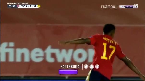 Ansu Fati anotó el tercer gol de España.