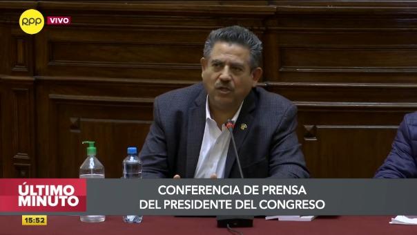 Conferencia de prensa de Manuel Merino.