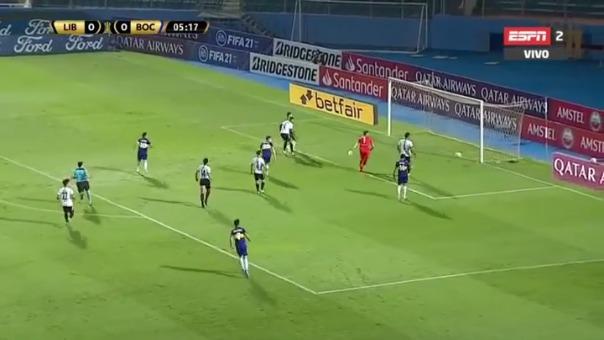 Eduardo Salvio marcó el 1-0 ante Libertad por Copa Libertadores.