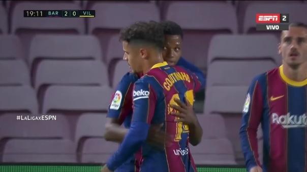 Barcelona 2-0 Villarreal: así fue el segundo gol de Ansu Fati