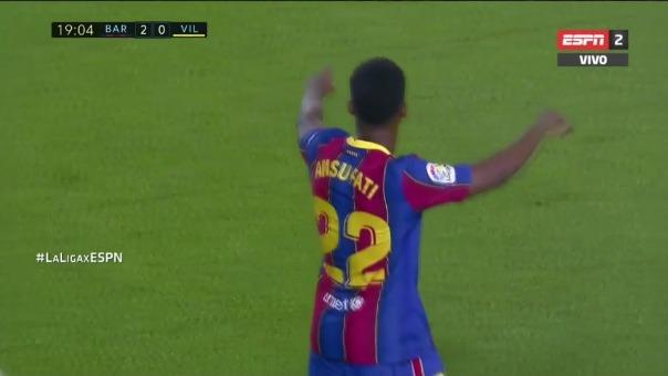Ansu Fati marcó dos goles en el Barcelona vs. Villarreal