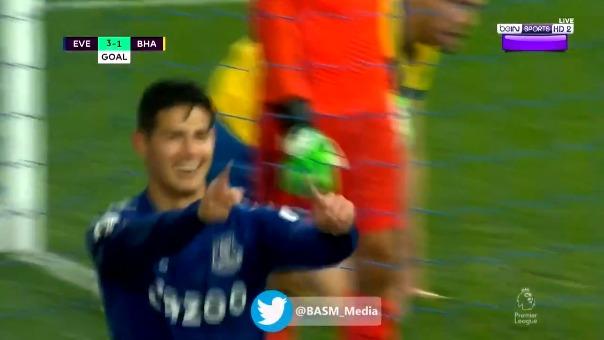 Segundo gol de James Rodríguez ante el Brighton