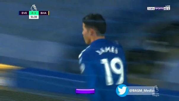 Primer gol de James ante el Brighton