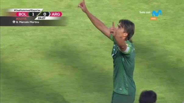 Marcelo Martins marcó el primer gol de Bolivia ante Argentina