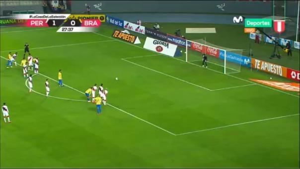 Neymar y su primer gol ante Perú.