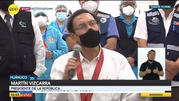 El presidente participó en la presentación de avances del Centro de Atención y Aislamiento Temporal Huánuco.