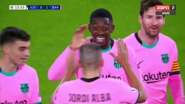 Ousmane Bembélé anotó el primero del Barcelona ante Juventus