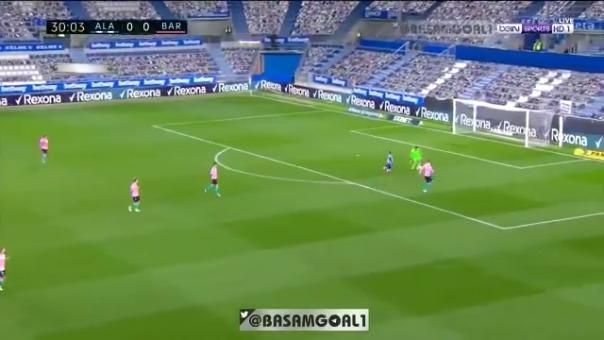 Gol de Luis Rioja ante Barcelona