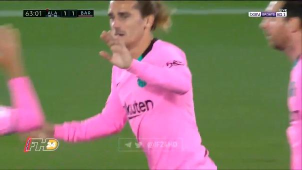 Antoine Griezmann marcó el gol del empate 1-1 entre Barcelona vs. Alavés
