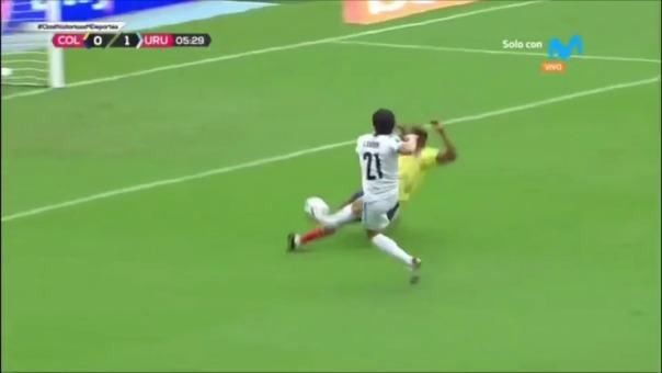Edinson Cavani abre el marcador en el Colombia vs. Uruguay