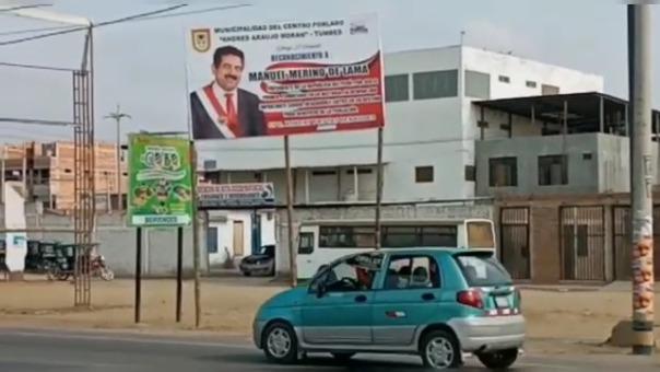 El alcalde del centro poblado Andrés Araujo Morán saludó a Manuel Merino a través de este cartel.