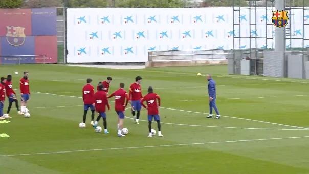 El último entrenamiento del Barcelona antes de enfrentar a Atlético de Madrid