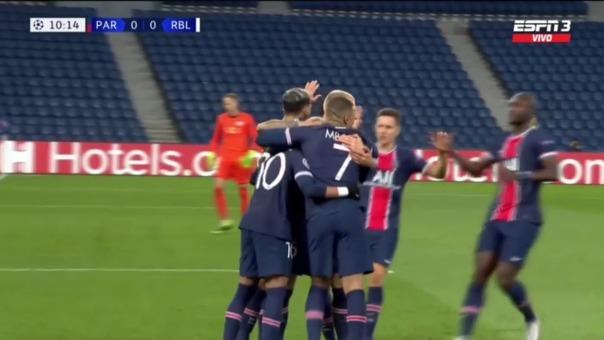 Neymar anotó de penal la victoria del PSG ante RB Leipzig