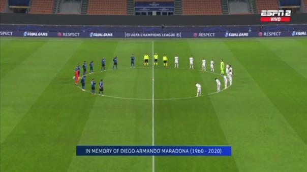Real Madrid e Inter de Milan dedicaron un minuto de silencio por muerte de Diego Maradona.